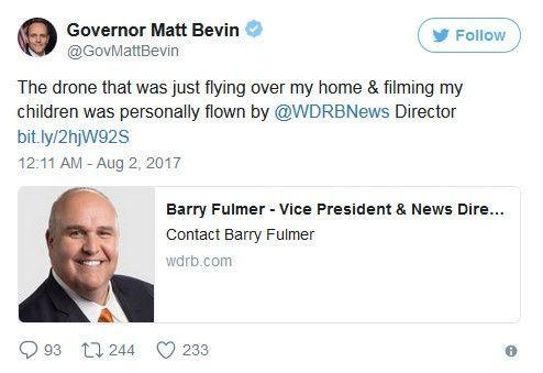 美肯塔基州州长谴责新闻媒体使用无人机拍摄行为