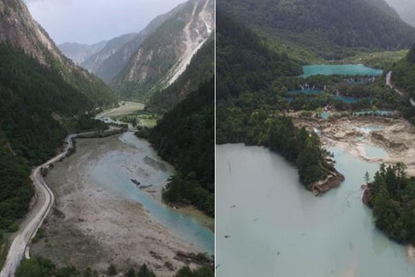 九寨沟地震:火花海出现决口 景点受损严重