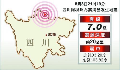 四川阿坝州九寨沟县8日21时19分发生7.0级地震。大图为地震中受损的出租车,小图为震中位置示意图。