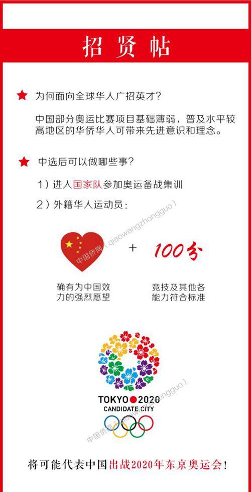 全球华人注意:您有机会代表中国参加2020东京奥运会