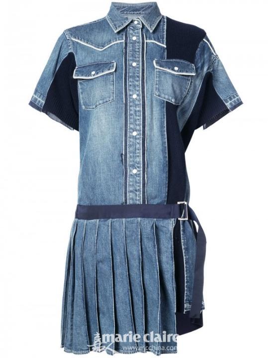 SACAI 褶饰牛仔衬衫裙¥8,969