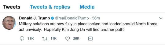"""特朗普再次强硬表态:美军对朝鲜""""准备开火"""""""