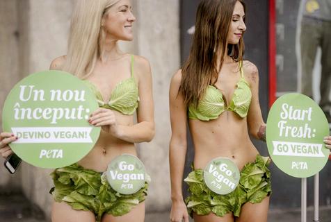 罗马尼亚女子穿生菜泳装 宣传素食