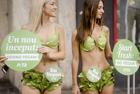 女子穿生菜泳装宣传素食