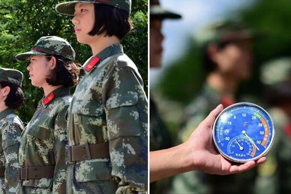 气温计爆表 边防女兵抗50℃高温站军姿