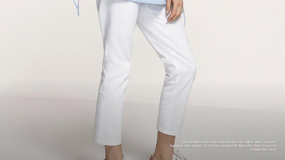 白色不等于臃肿!法媒教您穿对白色牛仔裤
