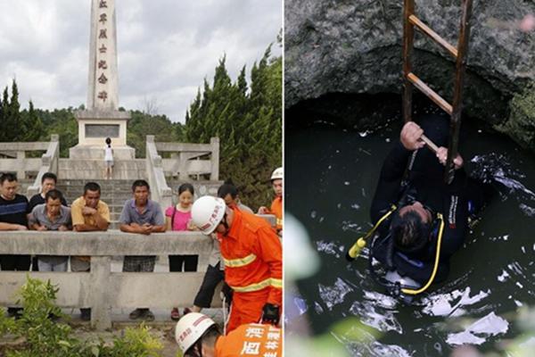 潜水员下井打捞100多名红军烈士遗骸