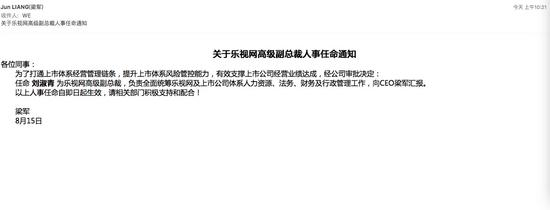 梁军连发三内部邮件 袁斌出任乐视上市体系CTO