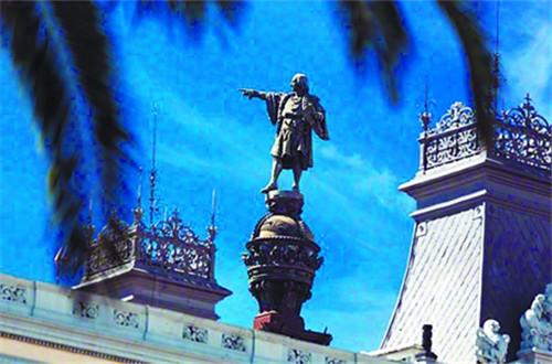 """哥伦布居高而立遥指""""黄金世纪"""""""