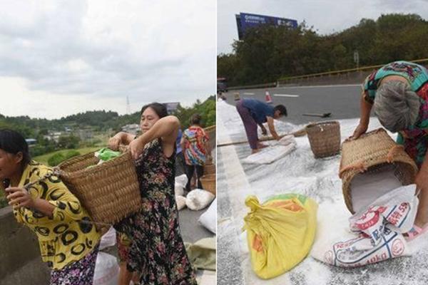 高速工业盐洒400米 村民装袋准备食用