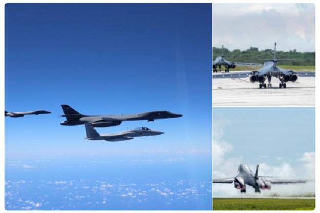 美军派战略轰炸机与日本战机在钓鱼岛附近训练