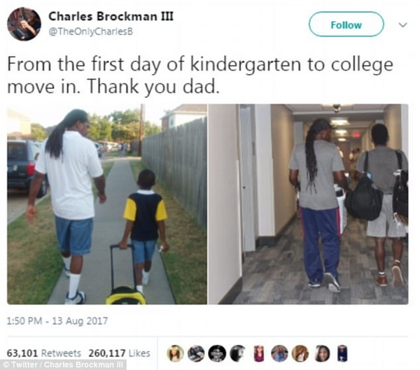 暖心!美大学生晒老爸13年前后送其上学对比图