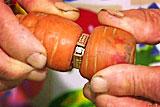 老人遗失婚戒与胡萝卜长一起