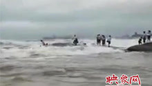 多名游客站在礁石上拍照 一个大浪来袭被卷走