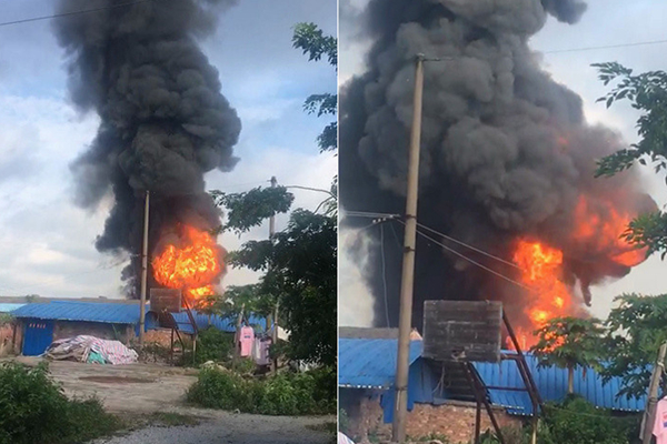 玉林一仓库突起大火 现场有爆炸声