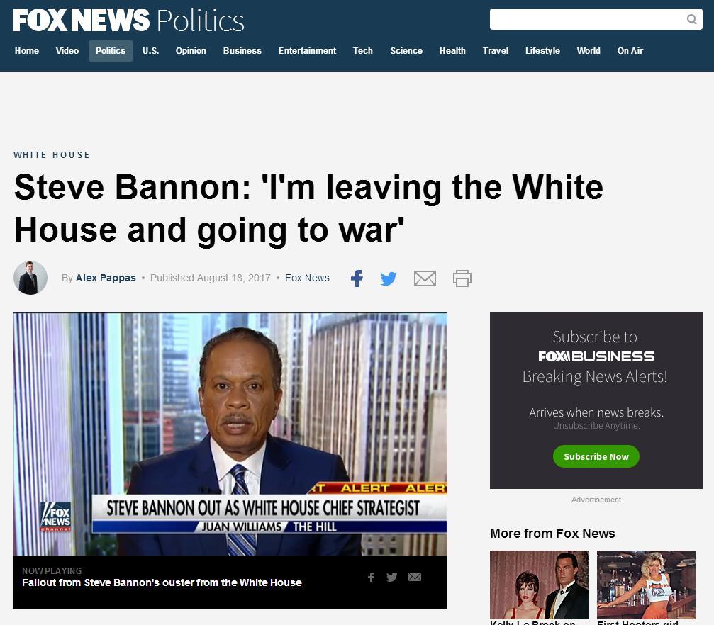 班农:将在白宫以外继续为特朗普总统而战