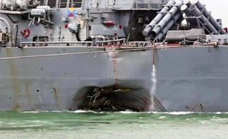 美军撞船宙斯盾舰返回基地 船身侧面一个大洞