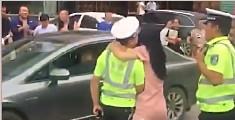 协警执法遭路过女子强吻