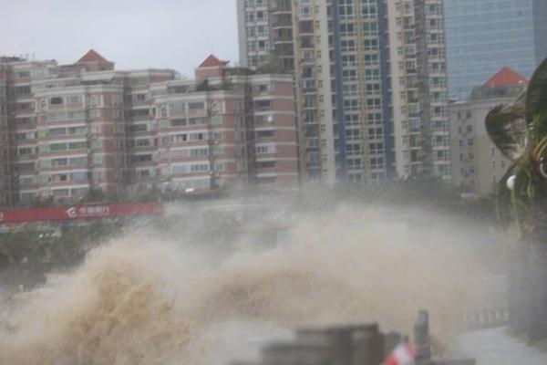 珠海海面掀巨浪 市民风中玩自拍