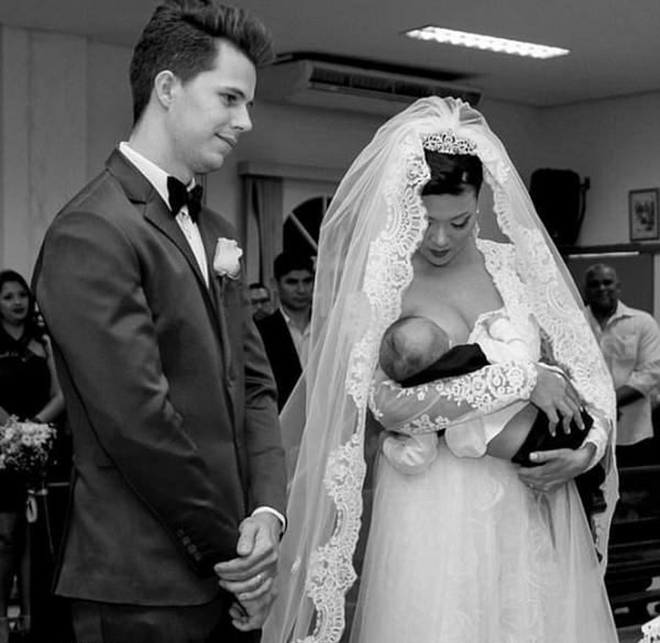 温馨!巴西新娘婚礼上给婴儿哺乳获网友点赞