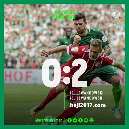 德甲第2轮赛报:不莱梅0-2拜仁 和记娱笑风浪体育