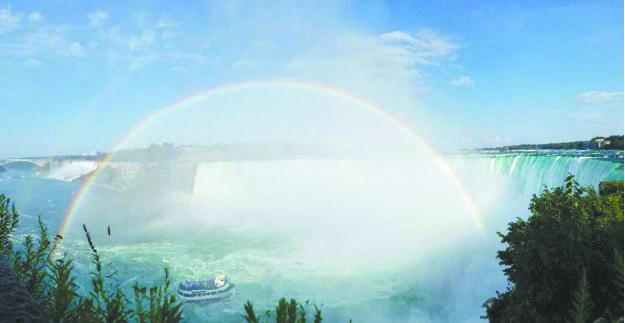 如梦如幻 在尼亚加拉大瀑布赏双虹