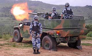 炮兵部队自行迫击炮实弹试射训练