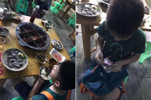 8岁男孩独自吃火锅 4个位置轮流坐