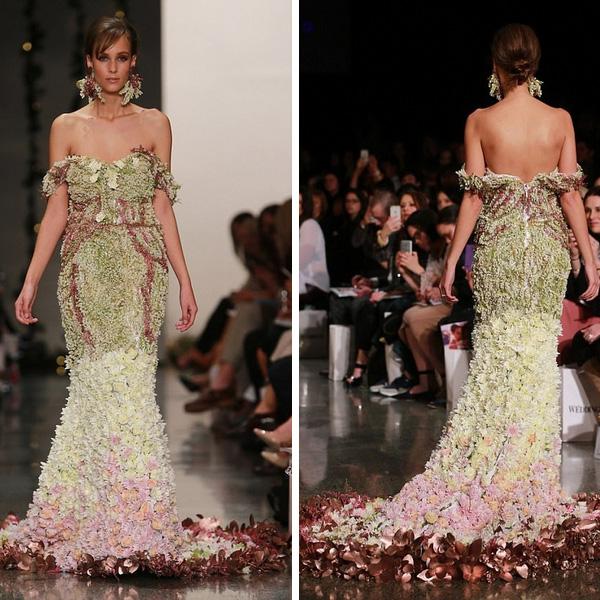 新西兰设计师用数千鲜花打造婚纱 造价近10万