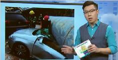 广东东莞一巨型广告牌倒塌近十辆汽车被砸