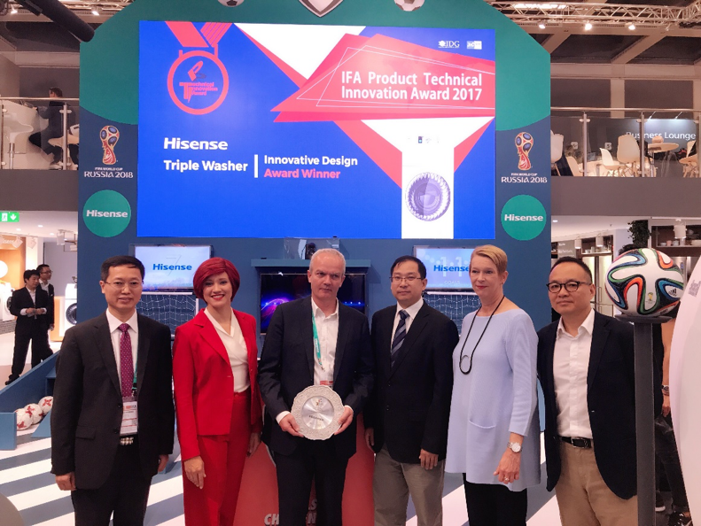 海信全球首创一机三筒洗衣机斩获IFA设计创新金奖