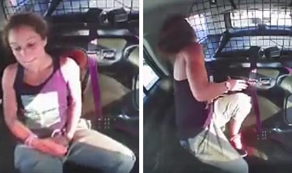 美国女犯人挣脱手铐偷开警车逃跑  如同警匪大片