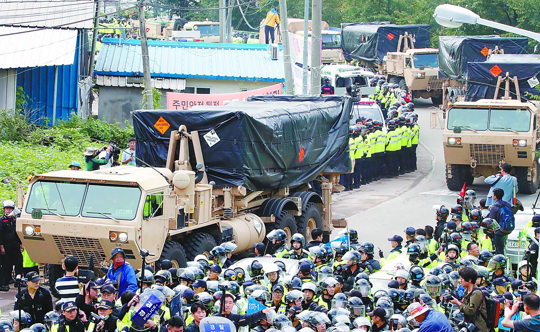 萨德临时部署完成 韩民众称将赴青瓦台继续抗议