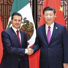 9月4日,习近平在厦门会见墨西哥总统培尼亚。