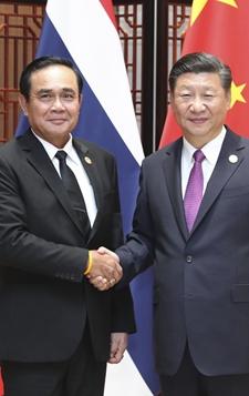 9月4日,习近平会见泰国总理巴育。
