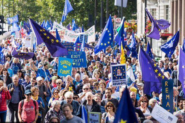 英国亲欧示威者举行游行 抗议脱欧