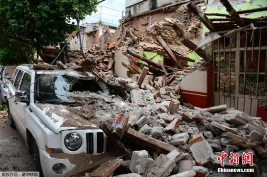 墨西哥民防部门:南部强震已造成至少90人丧生