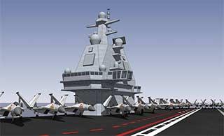 网友根据航母楼绘制国产航母舰岛