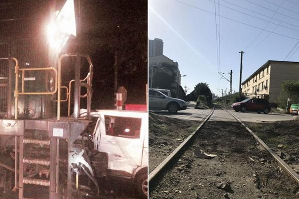 铁路道口无防护 火车推行面包车7米远