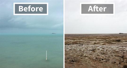 飓风Irma威力太猛 美国佛州沿海地区海水消失