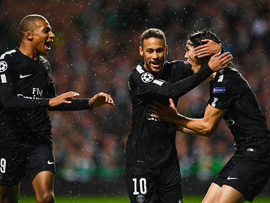 欧冠-内马尔姆巴佩卡瓦尼合进4球 巴黎客场5-0狂胜