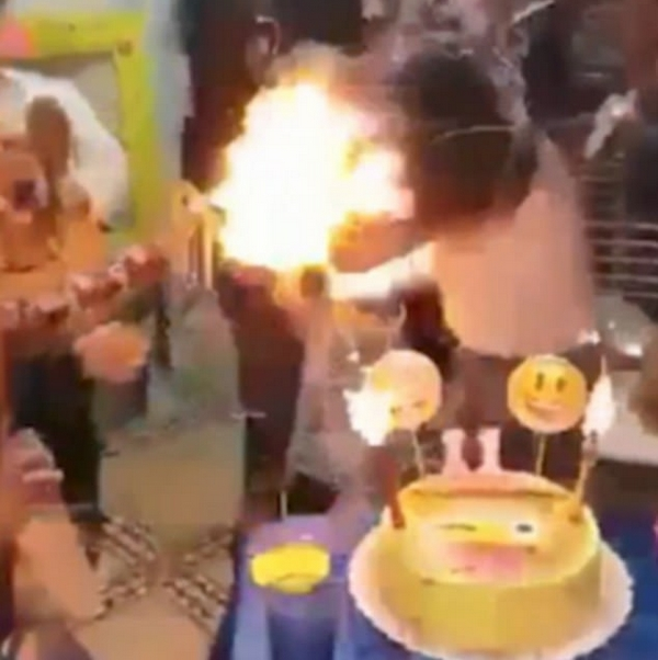 噩梦!阿根廷女孩庆生吹蜡烛意外被点燃