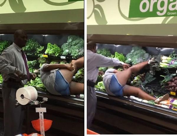 """美国超市惊现女子泡""""蔬菜浴"""" 疑似嗑药发疯"""