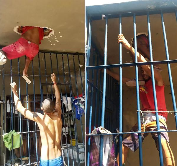 尴尬了!巴西犯人挖穿天花板越狱被卡住