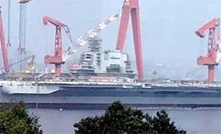 国产航母顶板雷达安装完毕