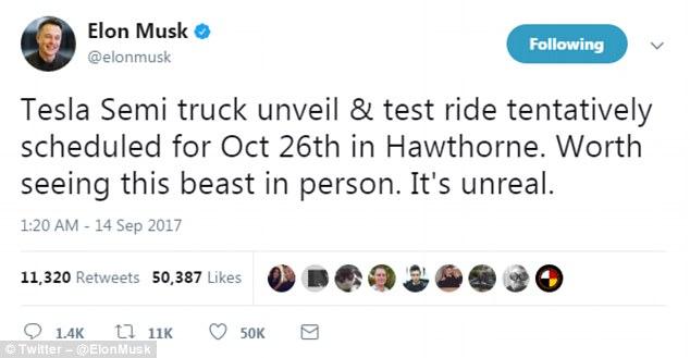 埃隆•马斯克:特斯拉将于10月26日推出电动卡车