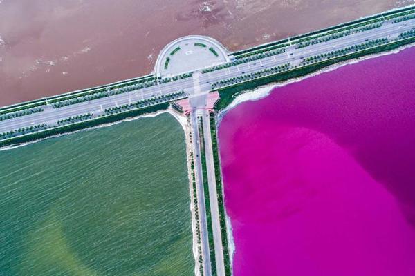 """盐湖变身""""鸳鸯锅"""" 半红半绿颜色抢眼"""