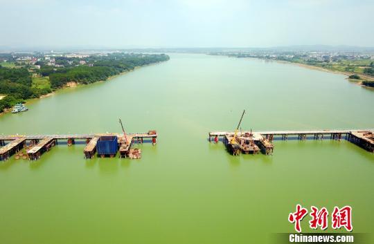 航拍江西广吉高速泰和赣江特大桥施工现场