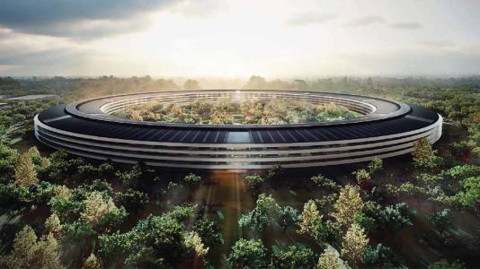 苹果公司新总部(apple park)大楼,屋顶装有太阳能组件,组件使用的边框