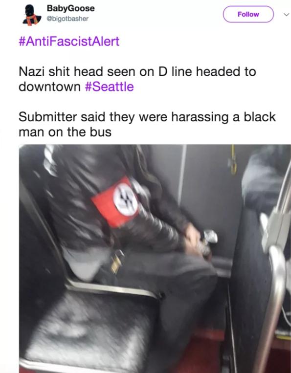 发现纳粹分子——击倒纳粹分子,厉害了,美国网友们!